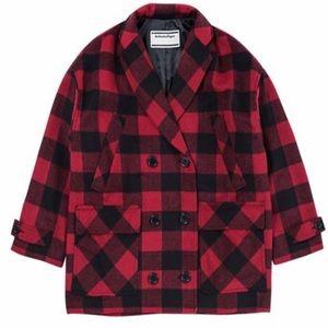Onitsuka Tiger Wool Plaid WS Flanel Coat Red NWT